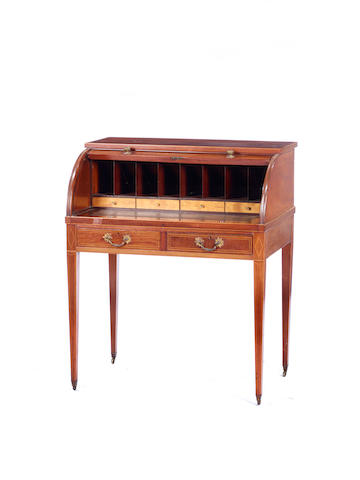 An Edwardian fiddle back mahogany and satinwood banded cylinder bureau in the George III style