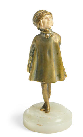 Demetre Chiparus; a  bronze and ivory figure of a child,