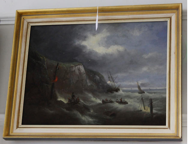 Attributed to William McAlpine (British, 19th Century) Shipwreck in stormy seas