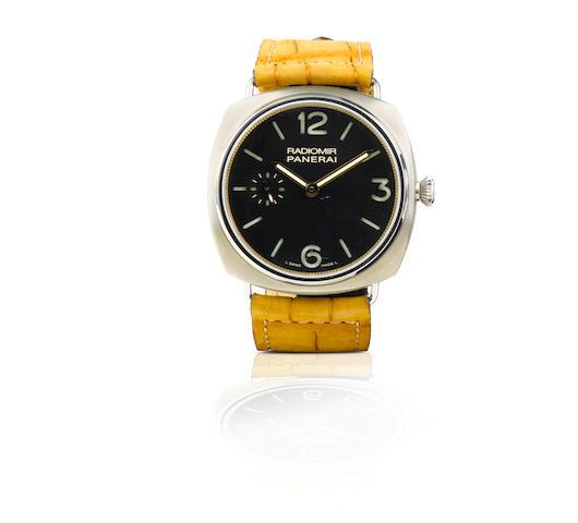 Officine Panerai. A fine and rare titanium manual wind limited edition wristwatch Radiomir Titanium, Ref: PAM309, K series, Case No. 077/150, circa 2008