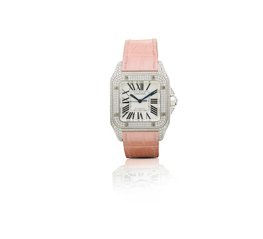 Cartier. A fine 18ct white gold automatic ladies wristwatch with diamond Santos 100, Ref: 112073LX, Case No. 2881, Circa 2009