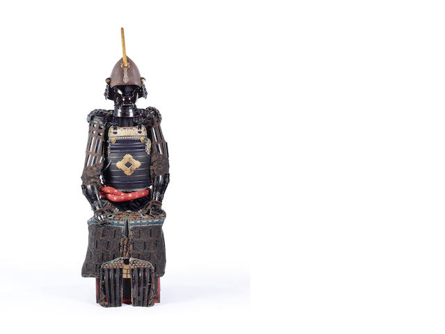 A Japanese black-lacquer armor with a momonari kabuto 19th century, the helmet 18th century