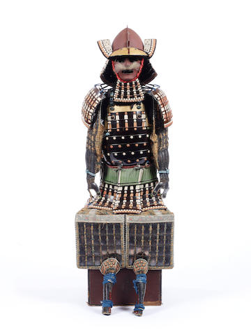 A Japanese brown-lacquer armor with a momonari kabuto 19th century
