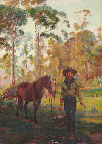 James Fraser Scott (Australian, 1878-1932) A settler collecting water