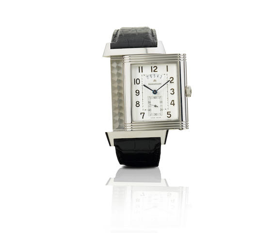 Jaeger-LeCoultre. A fine stainless steel manual wind limited edition two time zone wristwatch Grande Reverso 986 Duodate, Ref: 3748420, Case No. 0001/1500, Circa 2009