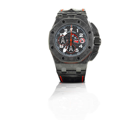 Audemars Piguet. A very fine and rare forged carbon automatic chronograph limited edition wristwatch Royal Oak Offshore Alinghi Team Limited Edition, Ref: 26062FS.00A.002CA.01, Case No. 178/1300, Circa 2008
