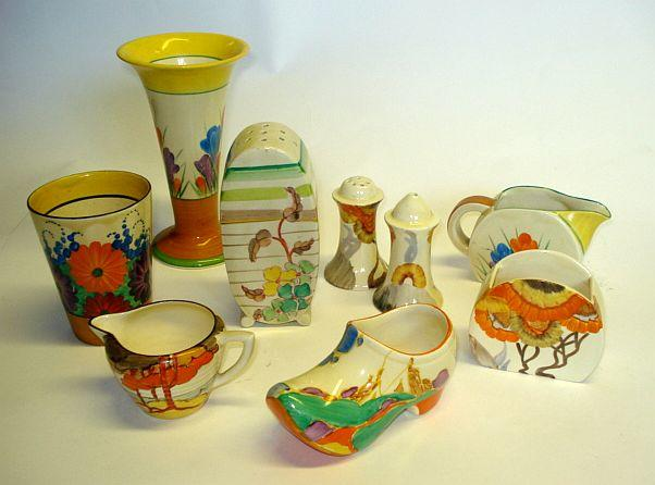 A collection of various Clarice Cliff items