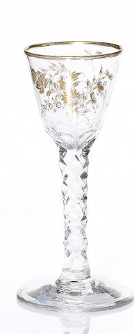 A gilt facet-stem wine glass circa 1770