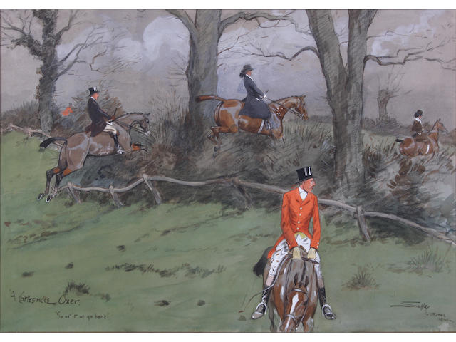 "Charlie Johnson Payne, 'Snaffles' (British, 1884-1967) 'A Cottesmore Oxer. ""Go at it or go home""' 37 x 56cm."
