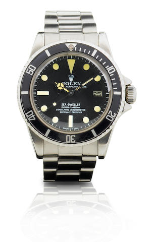 Rolex. A fine and rare stainless steel automatic diver's watch Oyster Perpetual Date, Sea-Dweller, Ref: 1665, Case no. 5491473, Circa 1975