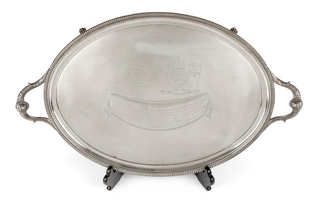 Of Royal Naval Historical Interest: A presentation silver two-handled tray by Thomas Hannam & John Crouch(II), London 1807
