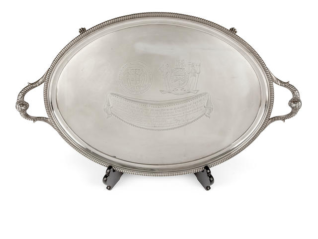 Of Naval Historical Importance: A presentation silver twin handled oval tray,