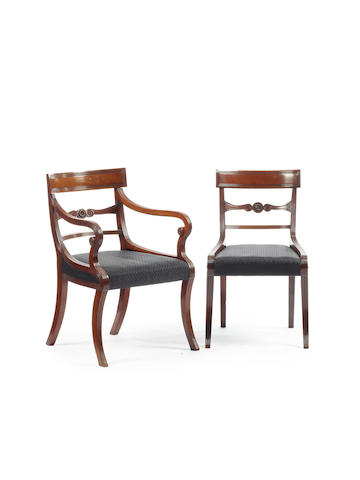 A Good set of nine Regency mahogany dining chairs together with a later single chair