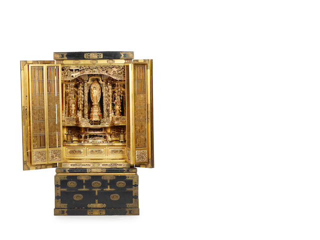 A large Buddhist altar  Late 19th century