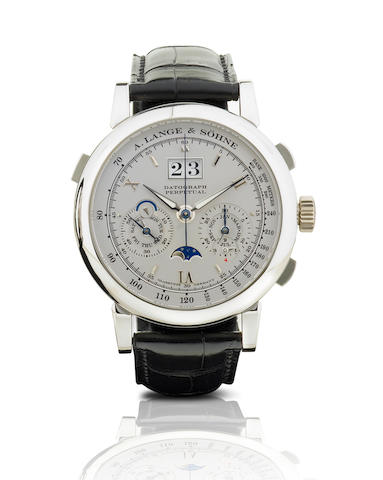 A. Lange & Sohne. A very fine and rare PT950 platinum manual wind perpetual calendar wristwatch Datograph Perpetual. Ref: 410.025, Case No. 158074, Circa 2007