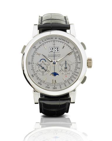 A. Lange & Sohne. A very fine and rare PT950 platinum manual wind perpetual calendar wristwatch Datograph Perpetual. Ref: 410.025, Case No. 158074, Circa 2007