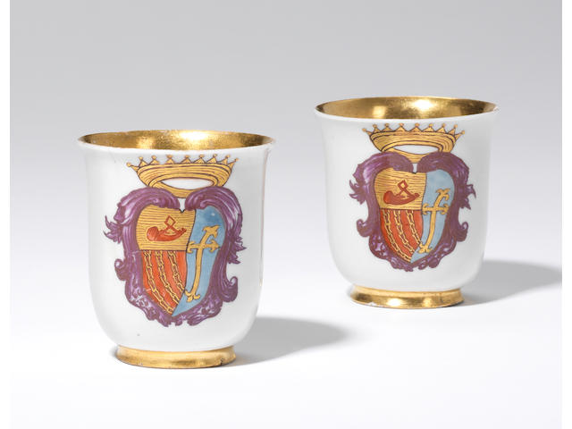 Two very rare Doccia armorial beakers circa 1745