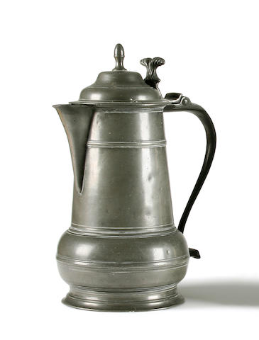 An early 18th Century York spouted acorn flagon, dated 1712