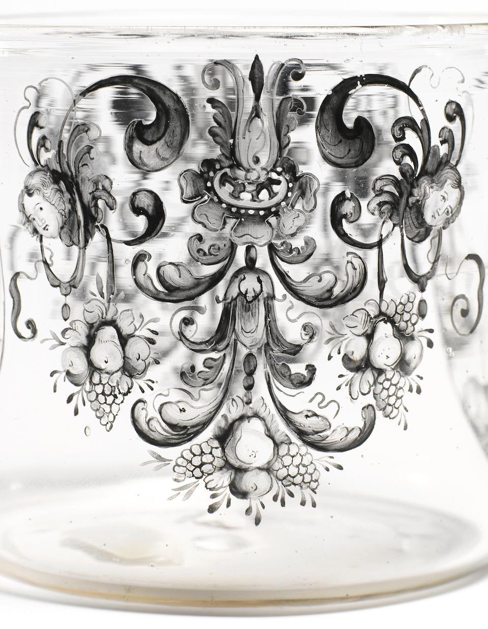 A rare North German 'Schwarzlot' enamelled beaker circa 1675