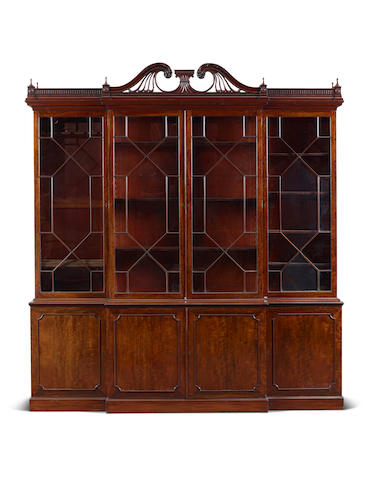 A George III mahogany breakfront Library bookcase altered and adapted by James Phillips, Bristol