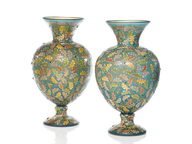 A pair of large and fine Moser turquoise-blue tinted enamelled and gilt vases circa 1882