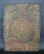 An ink and colour on silk picture of two tigers; together with a thankga decorated with mandala or other circular levels