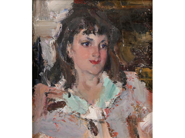 Nikolai Fechin (Russian, 1881-1955) Portrait of Mary Kiker, 1927