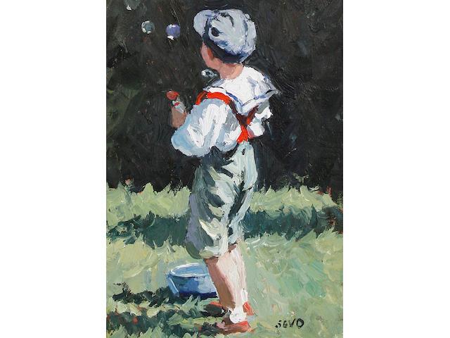 Sherree Valentine-Daines (British, born 1956) Boy with bubbles