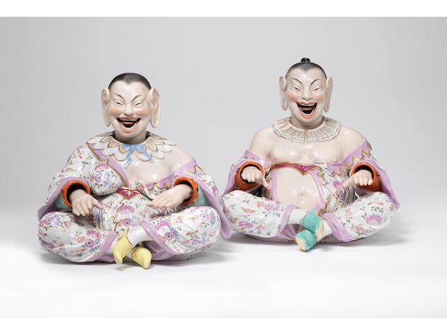An impressive pair of Meissen Pagoda Figures Circa 1870