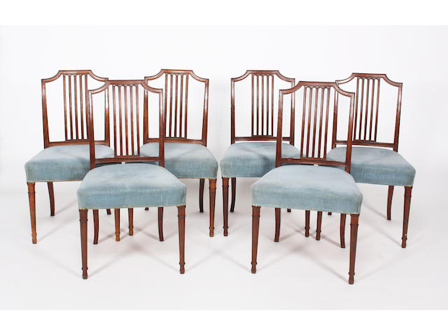 A set of six George III Gillow style mahogany moulded frame standard chairs