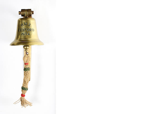 A Royal Navy ship's bell, HMS Desford 1954. 6.7in(17cm)diam.