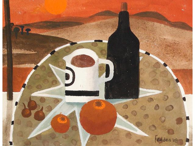 Mary Fedden R.A. (British, born 1915) Black bottle and jug