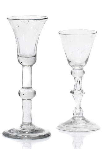 Two baluster wine glasses circa 1730
