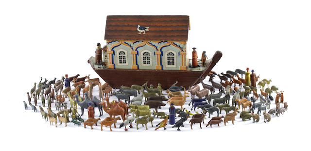 An extremely fine wooden Noah's Ark and animals, German 1870s-80s