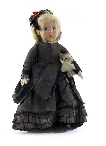 Rare Lenci 'Googly-eye' widow felt doll, Italian circa 1930
