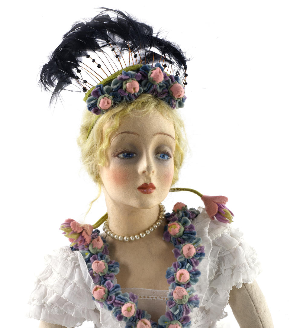 June Bride a fine and rare Lenci Lady doll, 1920's The dreamy and wistful expression together with the heavy eyelids of this doll are reminiscent of Marlene Dietrich who it is believed Lenci based some of their dolls on and who was an avid collector of Lenci.
