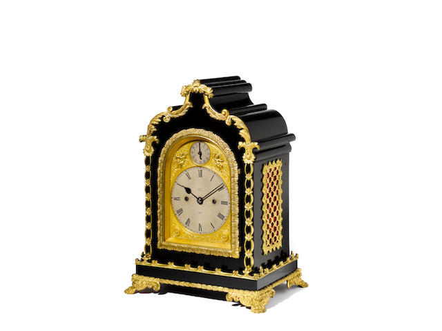 A gilt metal mounted ebonised bracket clock with trip repeat E. Dent & Co, 61 Strand, number 1691