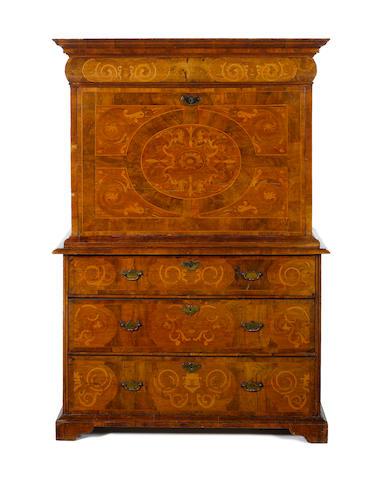 A Queen Anne walnut and marquetry escritoire