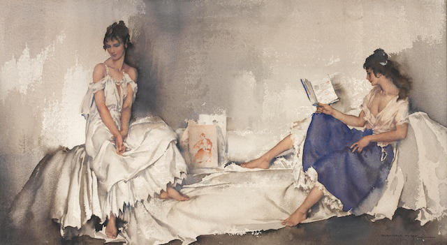 Sir William Russell Flint R.A., P.R.W.S. (British, 1880-1969) Interlude 30 x 54.5 cm. (11 3/4 x 21 1/2 in.)