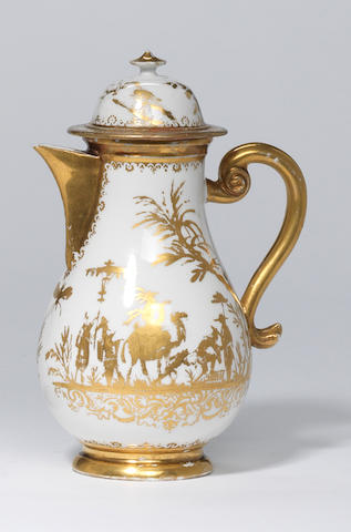 A Meissen Hausmaler hot water jug and cover Circa 1725-30