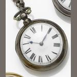 James Reeves. A silver pair case verge pocket watch Number 44631, Hallmarked London 1860