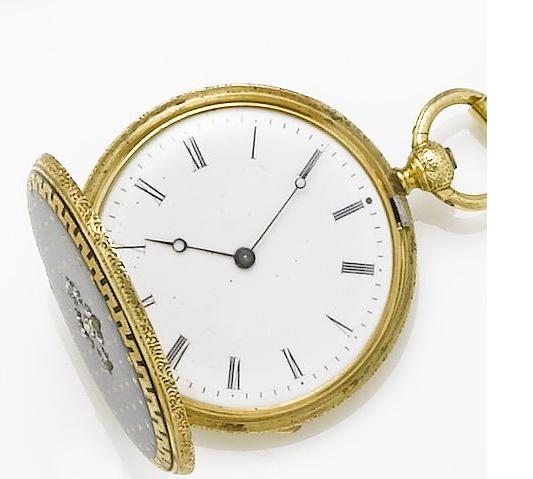 French. An gold and blue enamel fob watch and chainCirca 1900