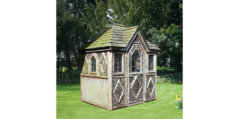 An early 20th Century rustic timber and bark summer house