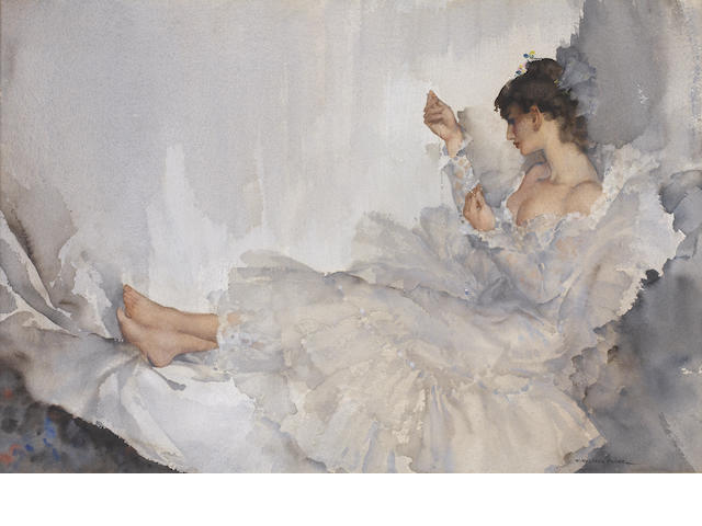 Sir William Russell Flint R.A., P.R.W.S. (British, 1880-1969) The Twisted Chain, Cecilia 36.5 x 54.2 cm. (14 3/8 x 21 3/8 in.)