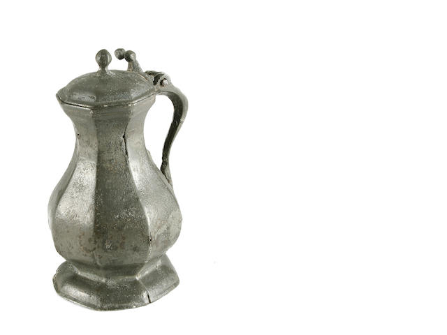 An exceptionally rare and important mid 14th Century octagonal flagon, French or Swiss