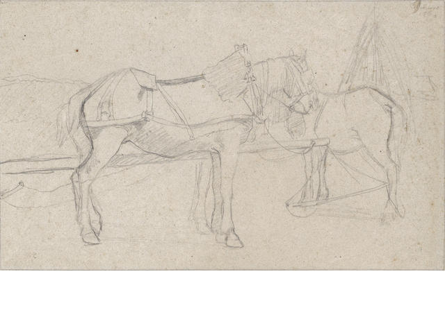 Camille Pissarro (French, 1830-1903), C. Pissarro, Study of two horses, pencil drawing Chevaux attelés