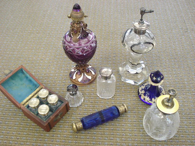 A collection of eight scent bottles Late 19th and early 20th century