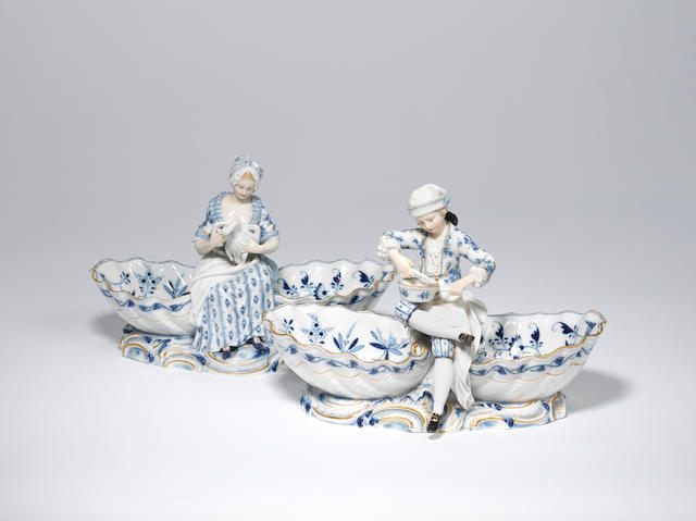 A pair of Meissen figural salts Late 19th century