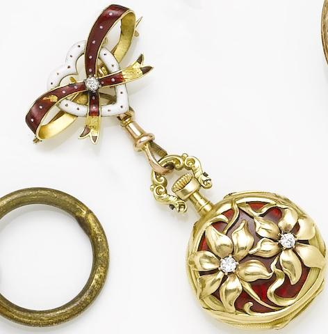 Swiss. An 18ct gold open face fob watch with diamond set enamelled reverse, suspended from a conforming bow broochCirca 1910