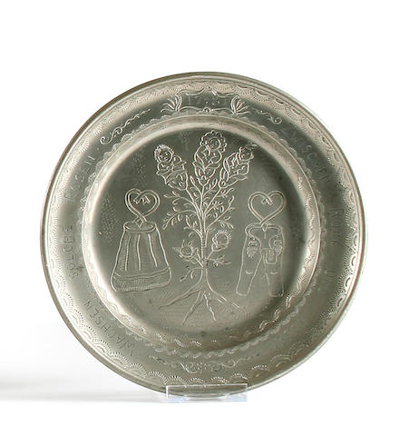 An engraved 'fertility plate', Austrian, dated 1781